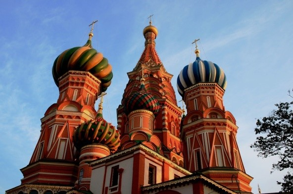See St Basil's Cathedral on a river cruise in Russia