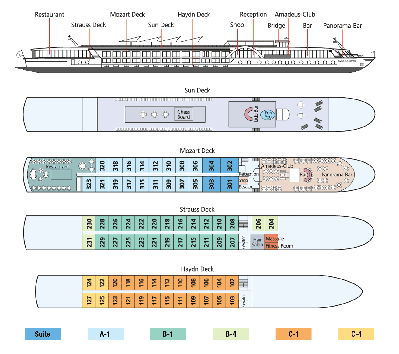 Amadeus Royal Deck Plan