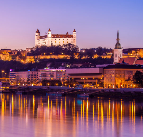 Christmas Cruise on the Danube from Global River Cruising. Beautiful night shot of Bratislava city, Slovakia