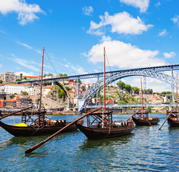 River Cruise Douro river traditional boats in Porto Portugal