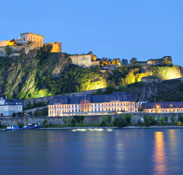 Rhine - Fortress Ehrenbreitstein on the side of river Rhine in Koblenz Germany