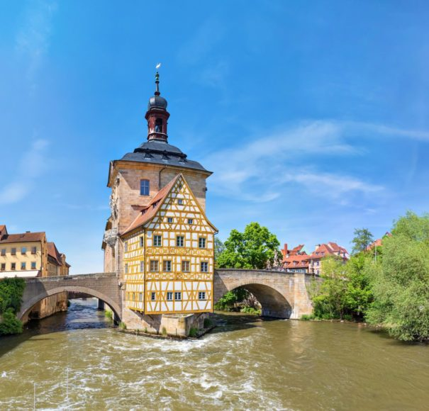 European River Cruising Germany Bamberg. Panoramic view of Old Town Hall