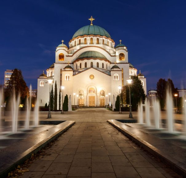 Titan River Cruises Danube Delta Belgrade St Sava Cathedral at Sunset