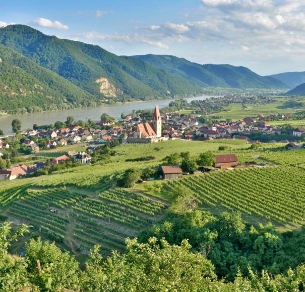 Danube - Scenic-View-into-the-Wachau-with-the-river-Danube-and-the-market-town-WeissenkirchenLowRes