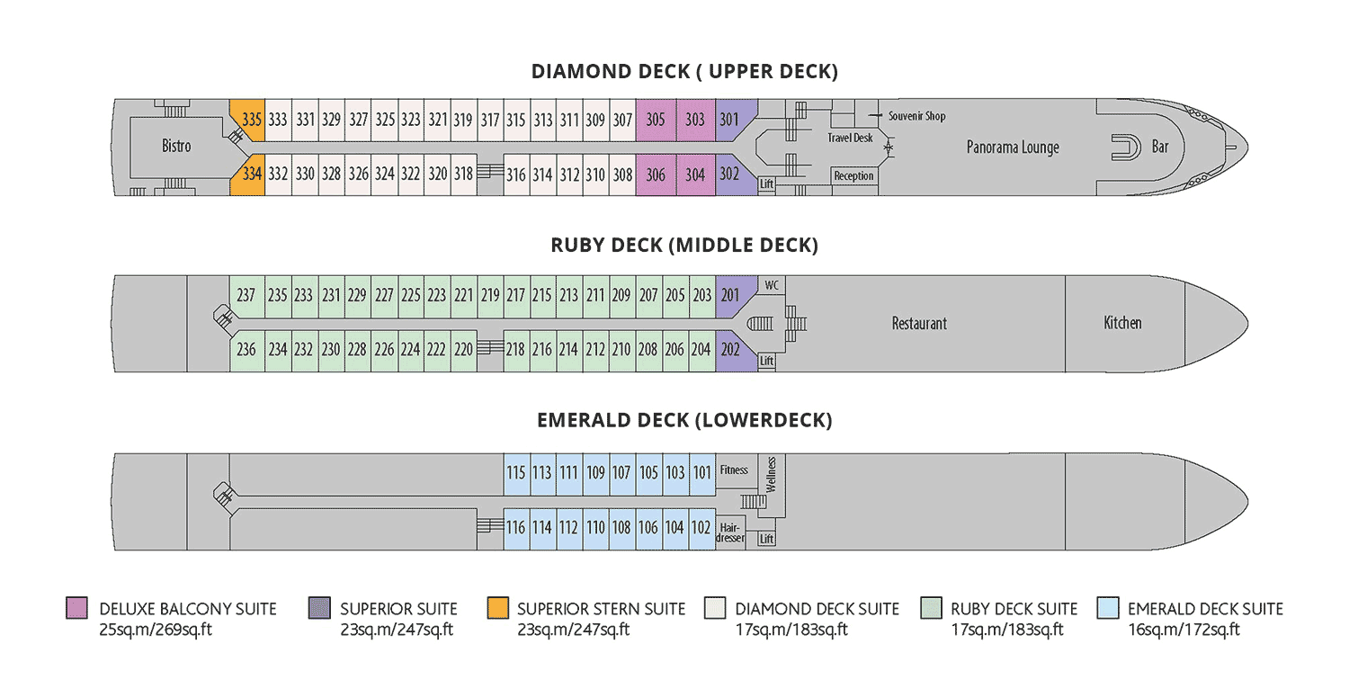 Riviera Travel - Suite Ship Deck Plan