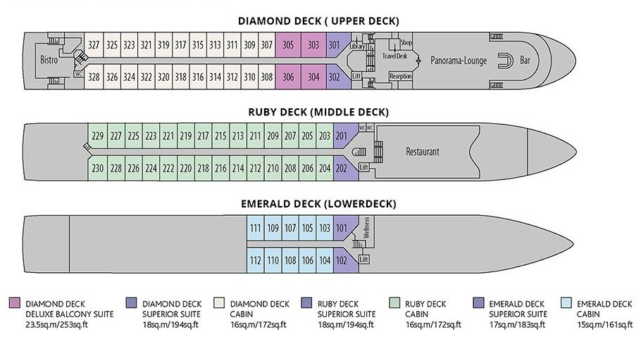 Riviera Travel - MS George Eliot - Deck Plan