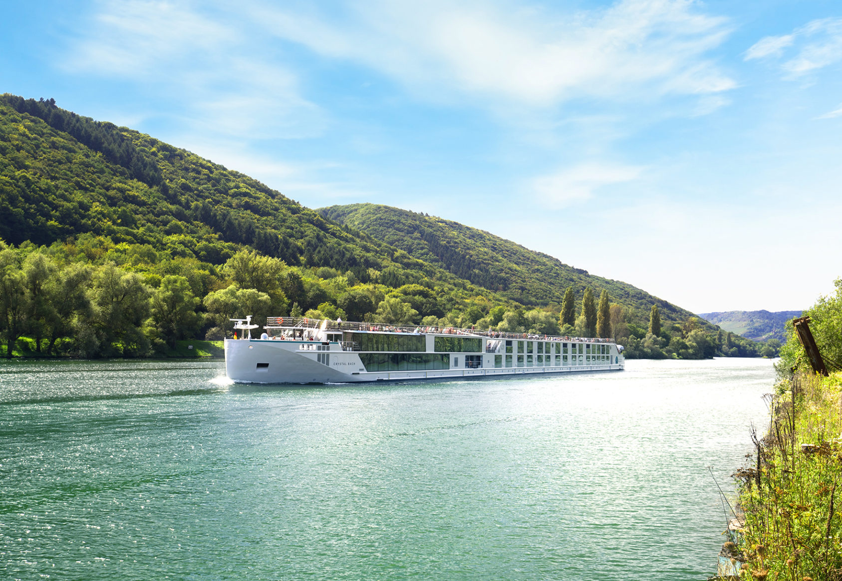 Crystal Bach river ship cruising the Rhine